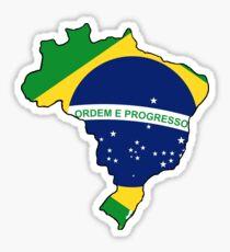 Brazil Brasil Map with Brazil Brasil Flag Sticker