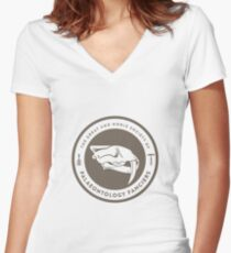 The Society of Palaeontology Fanciers (Brown on White) Women's Fitted V-Neck T-Shirt