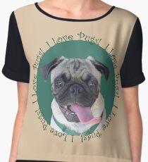 Cute I Love Pugs! T-Shirt or Hoodie Chiffon Top