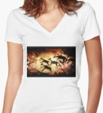 cave painting Women's Fitted V-Neck T-Shirt