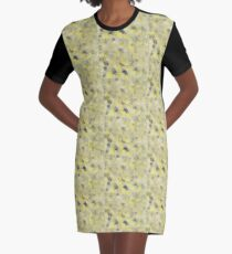 Yellow and Black Painting Graphic T-Shirt Dress