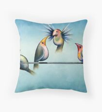 Finches On Parade - Excerpt Two Throw Pillow
