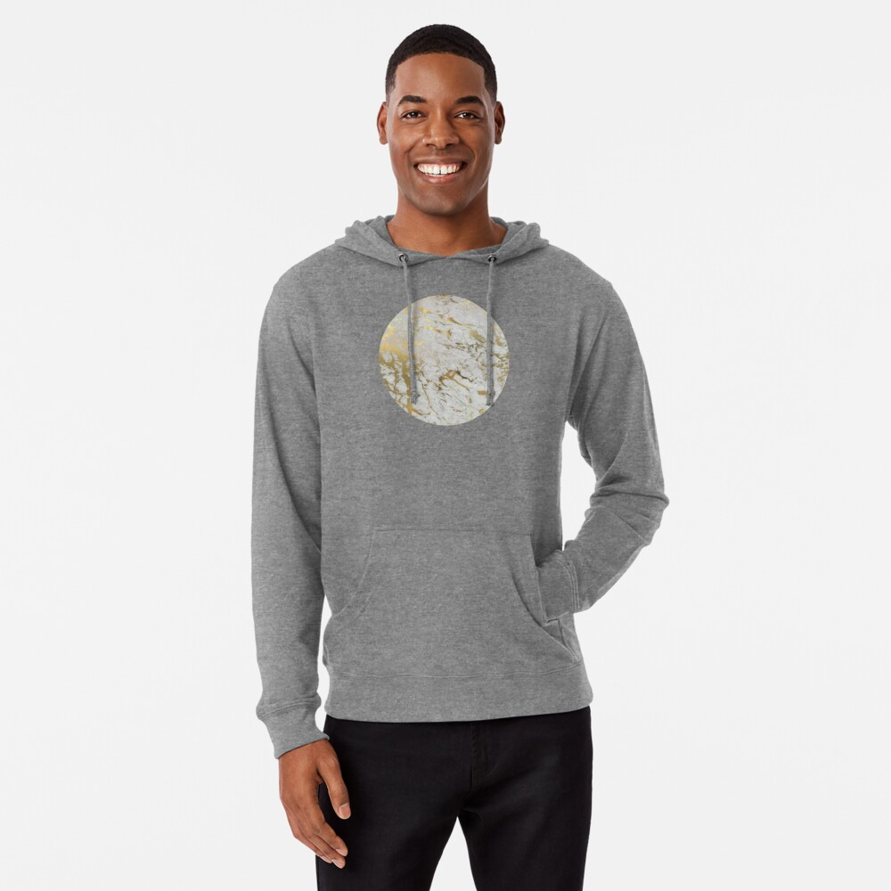 Gold marble on white (original height quality print) Lightweight Hoodie