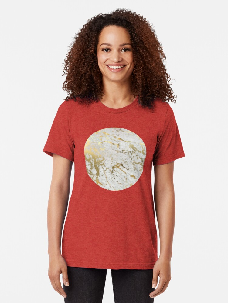 Alternate view of Gold marble on white (original height quality print) Tri-blend T-Shirt