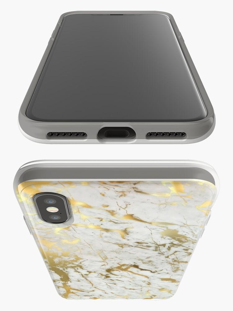 Vista alternativa de Funda y vinilo para iPhone Mármol dorado sobre blanco (impresión de calidad de altura original)