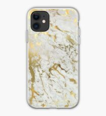Gold marble on white (original height quality print) iPhone Case