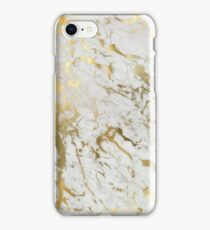 Gold marble on white (original height quality print) iPhone Case/Skin