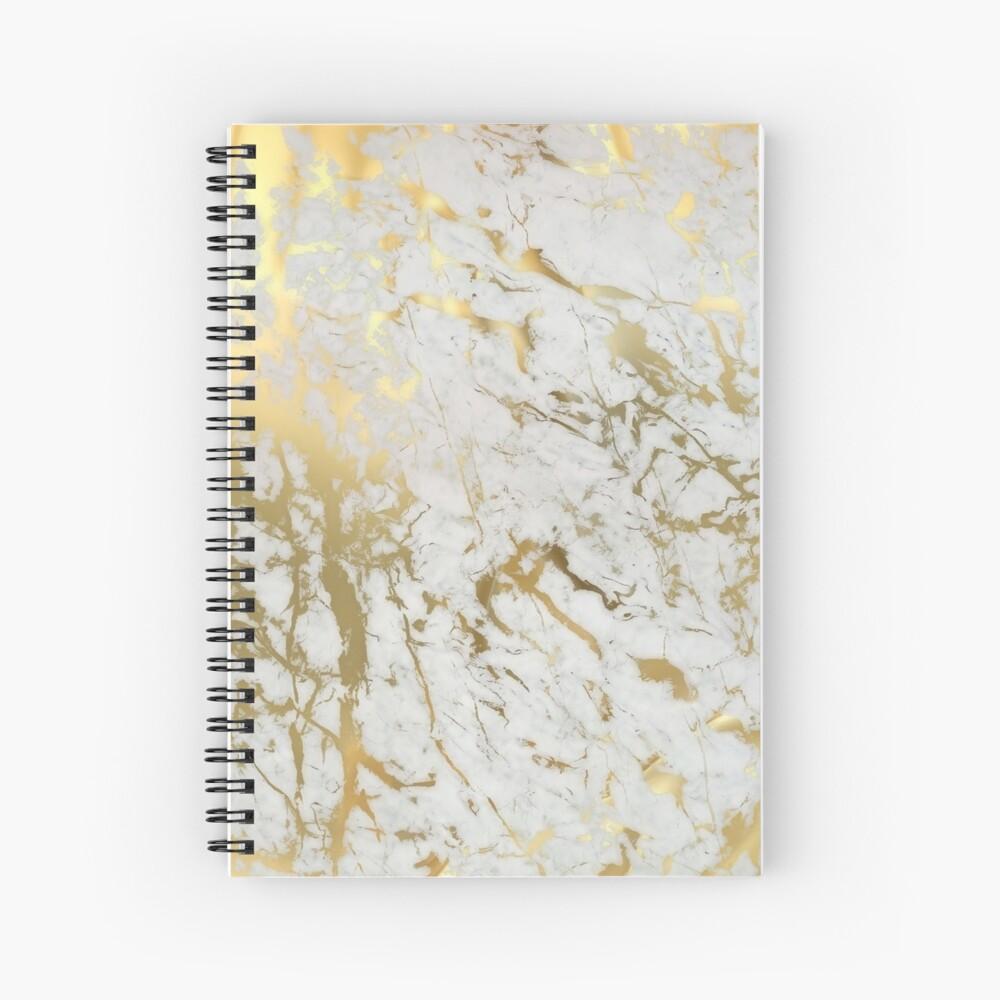 Mármol dorado sobre blanco (impresión de calidad de altura original) Cuaderno de espiral