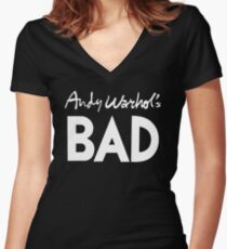 Bad (white) Women's Fitted V-Neck T-Shirt