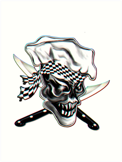 Láminas artísticas «Skull Chef con pañuelo a cuadros» de sdesiata ...