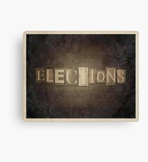 Vintage Elections Typography Canvas Print