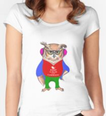 Hipster Owl - Keep Calm Women's Fitted Scoop T-Shirt