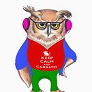 Hipster Owl - Keep Calm by Tania  Donald