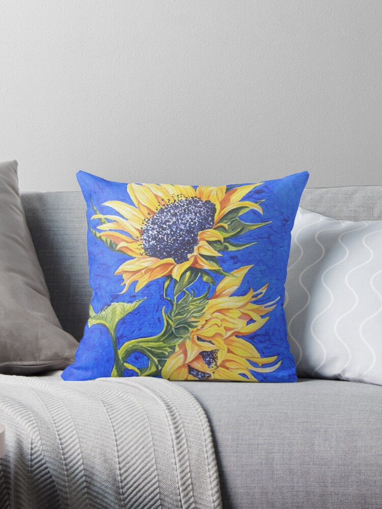 Sunflowers on Blue by FranEvans