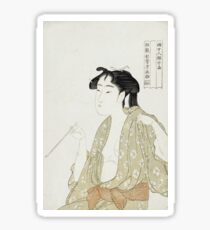 Kitagawa Utamaro - Portrait Of A Woman Smoking. Woman portrait: sensual woman, geisha, female style, pretty women, femine,  eastern, beautiful dress, headdress, silk, sexy lady,  mirror Sticker