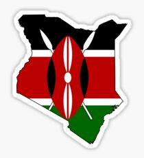 Kenya Map with Flag of Kenya Sticker