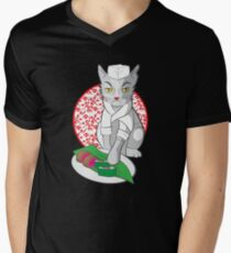 No-one but me makes the sushi (Japanese cat chef) Men's V-Neck T-Shirt