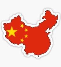 China Map with Chinese Flag Sticker