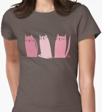 Three Little Pink Cats Womens Fitted T-Shirt