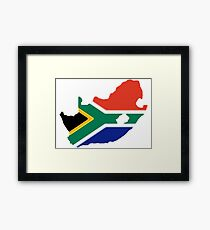 South Africa Map with South African Flag Framed Print