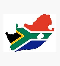 South Africa Map with South African Flag Photographic Print