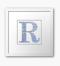 Letter R Blue Watercolor Stripes Monogram Initial Framed Print