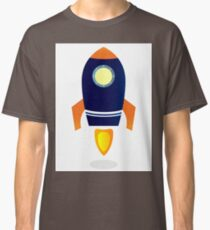Blue Rocket ship. Vector cartoon Classic T-Shirt