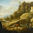 David Teniers II(Antwerp ), Landscape with a Shepherd and a Shepherdess and their Flock along a Path,  by MotionAge Media