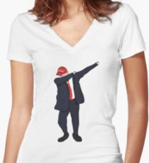Dabbing Donald Women's Fitted V-Neck T-Shirt