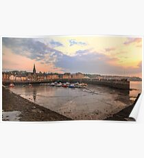 The sun begins to set over Newhaven Harbour, Edinburgh Poster