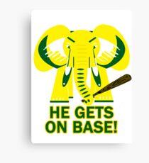 He Gets on Base! Elephant! Canvas Print