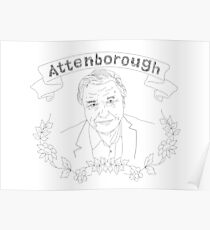 David Attenborough illustration Poster