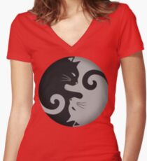 Ying Yang Cats - Black and grey Women's Fitted V-Neck T-Shirt