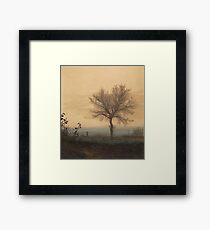 Leon Bonvin - Landscape With A Bare Tree And A Plowman 1864. Country landscape:  tree, village view, plowman, sky, rustic, fog, field, countryside road, trees, garden, flowers Framed Print