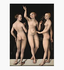 Lucas Cranach The Elder - The Three Graces 1535. Woman portrait: the three graces,  nude, grace, nudity, femine, feminine,  sensual,  beautiful, erotica, sexy lady, temptation Photographic Print