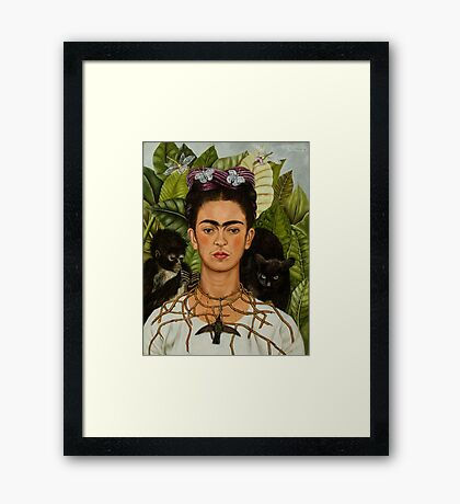 Self-Portrait with Thorn Necklace and Hummingbird  by Frida Kahlo Framed Print
