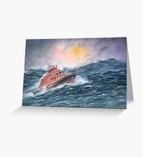 Lifeboat on stormy seas by Paul Sagoo Greeting Card