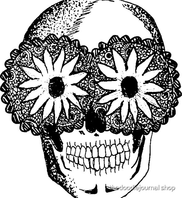 skull by thedoodlejournal shop