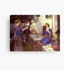 John William Waterhouse - The Annunciation. Woman portrait: sensual woman, girly art, female style, pretty women, femine, beautiful dress, cute,  love Canvas Print