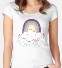 I Love Music Doodle Women's Fitted Scoop T-Shirt