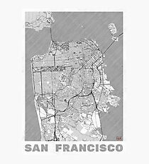 San Francisco Map Line Photographic Print