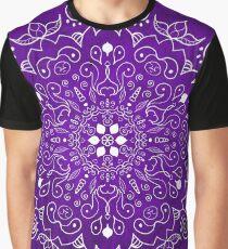 Mandala Purple and White Graphic T-Shirt