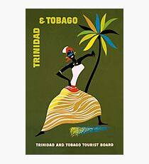 Vintage Trinidad and Tobago Caribbean woman travel advert Photographic Print