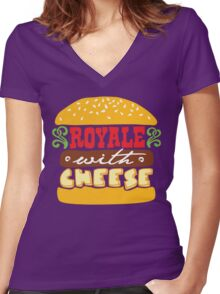 Pulp Fiction - Royale with cheese Women's Fitted V-Neck T-Shirt