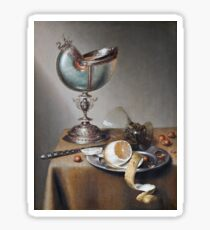 Marten Boelema De Stomme - Still-Life With Nautilus Cup . Still life with fruits and vegetables: Nautilus Cup , lemon, knife, gastronomy food, nuts, dish, glass, kitchen, vase Sticker