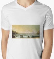 Martin Johnson Heade - Rio De Janeiro Bay. Seashore landscape: sea view, yachts, holiday, sailing boat, coast seaside, waves and beach, marine, seascape, sun and clouds, nautical panorama, ocean T-Shirt