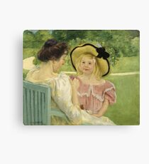 Mary Cassatt - In The Garden. Mother with kid portrait: cute girl, mother and daughter,  Garden, girly, headdress, beautiful dress, lovely family, mothers day, memory, mom mum mam, face with hairs Canvas Print