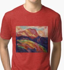 Marsden Hartley - Mont Sainte-Victoire. Mountains landscape: mountains, rocks, rocky nature, sky and clouds, trees, peak, forest, rustic, hill, travel, hillside Tri-blend T-Shirt