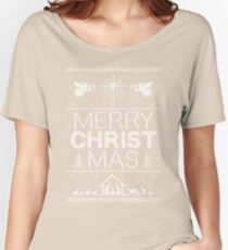 Ugly Christmas Sweater - Red - Merry Christ Mas - Religious Christian - Jesus Women's Relaxed Fit T-Shirt
