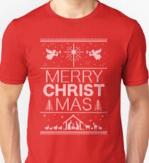 Ugly Christmas Sweater - Red - Merry Christ Mas - Religious Christian - Jesus Unisex T-Shirt